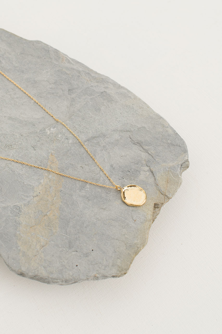 Crushed Simple Circle Necklace, Gold Plated