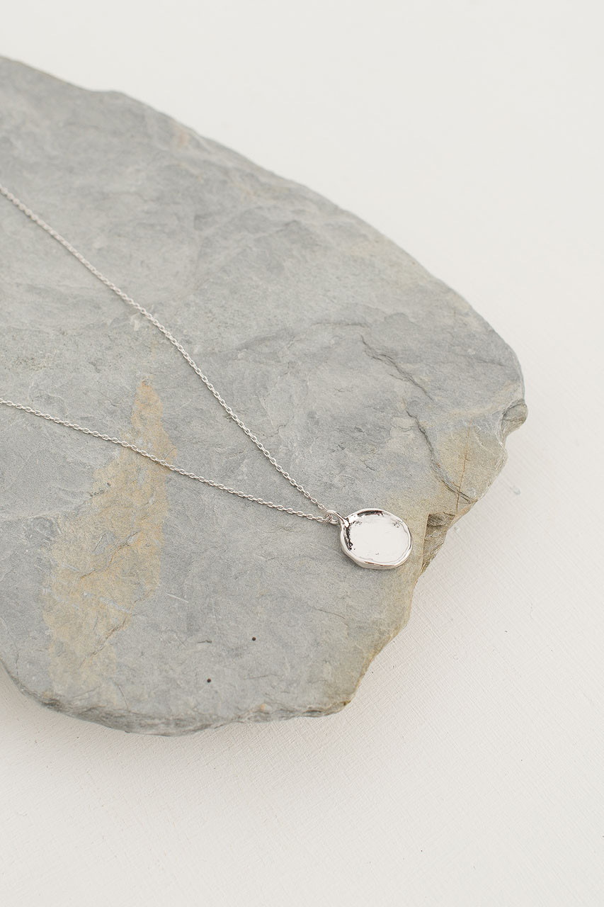 Crushed Simple Circle Necklace, Silver Plated