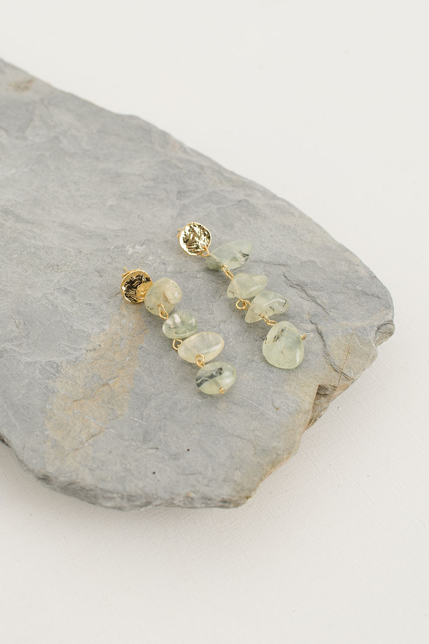 Grape Marble Drop Earrings, Gold Plated