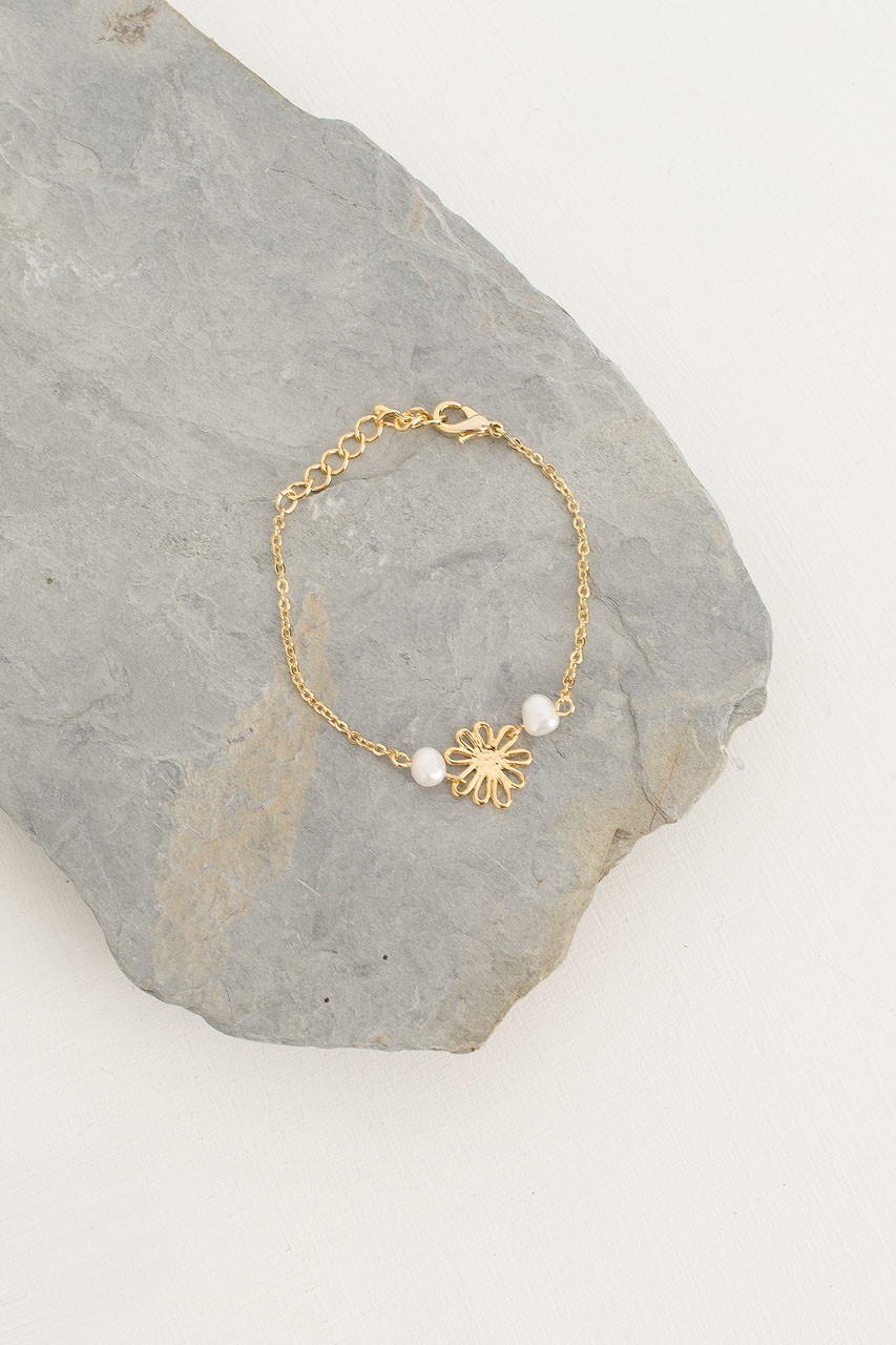 Daisy Pearl Bracelet, Gold Plated