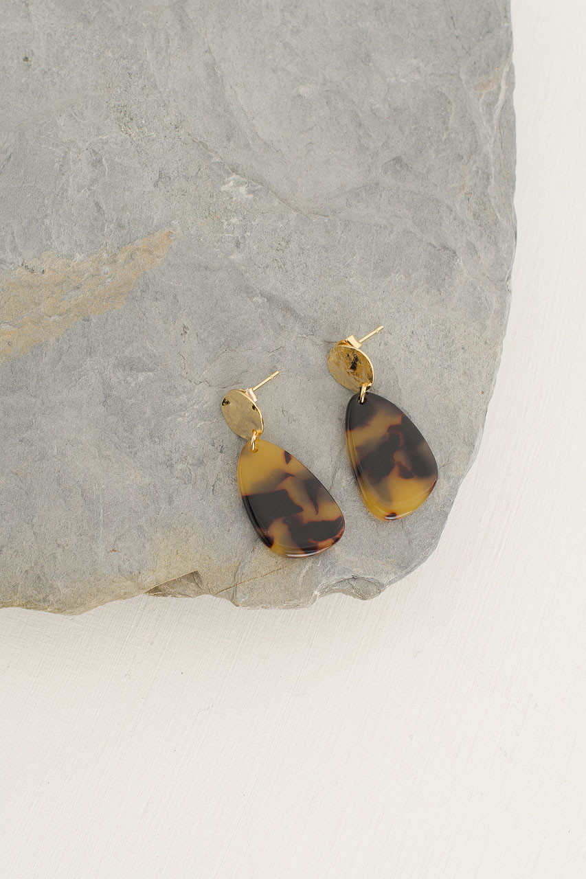 Mako Earrings, Gold Plated/Tortoise