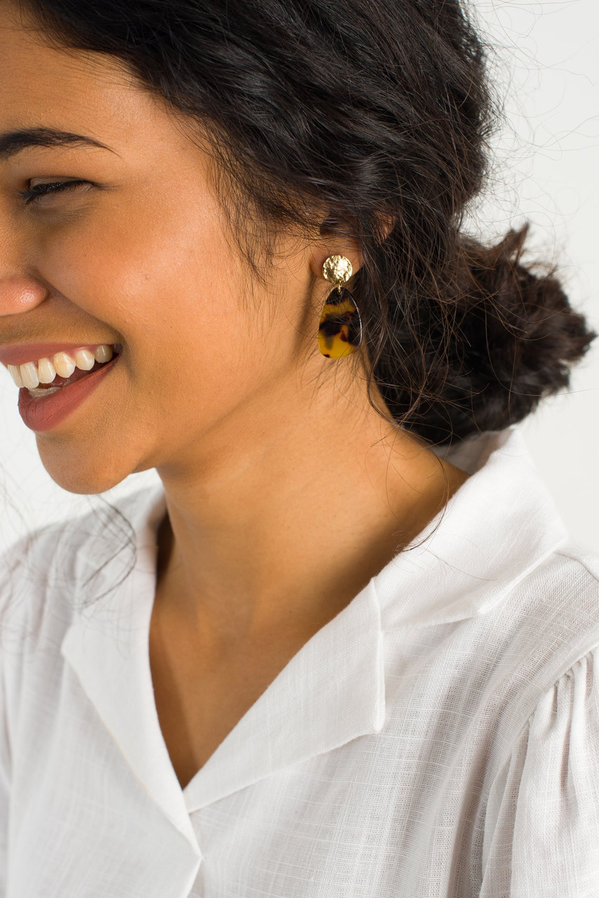 Mako Earrings, Gold Plated/Tortoise