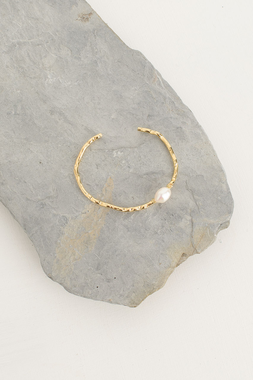 Petite Single Pearl Bangle, Gold Plated/Pearl