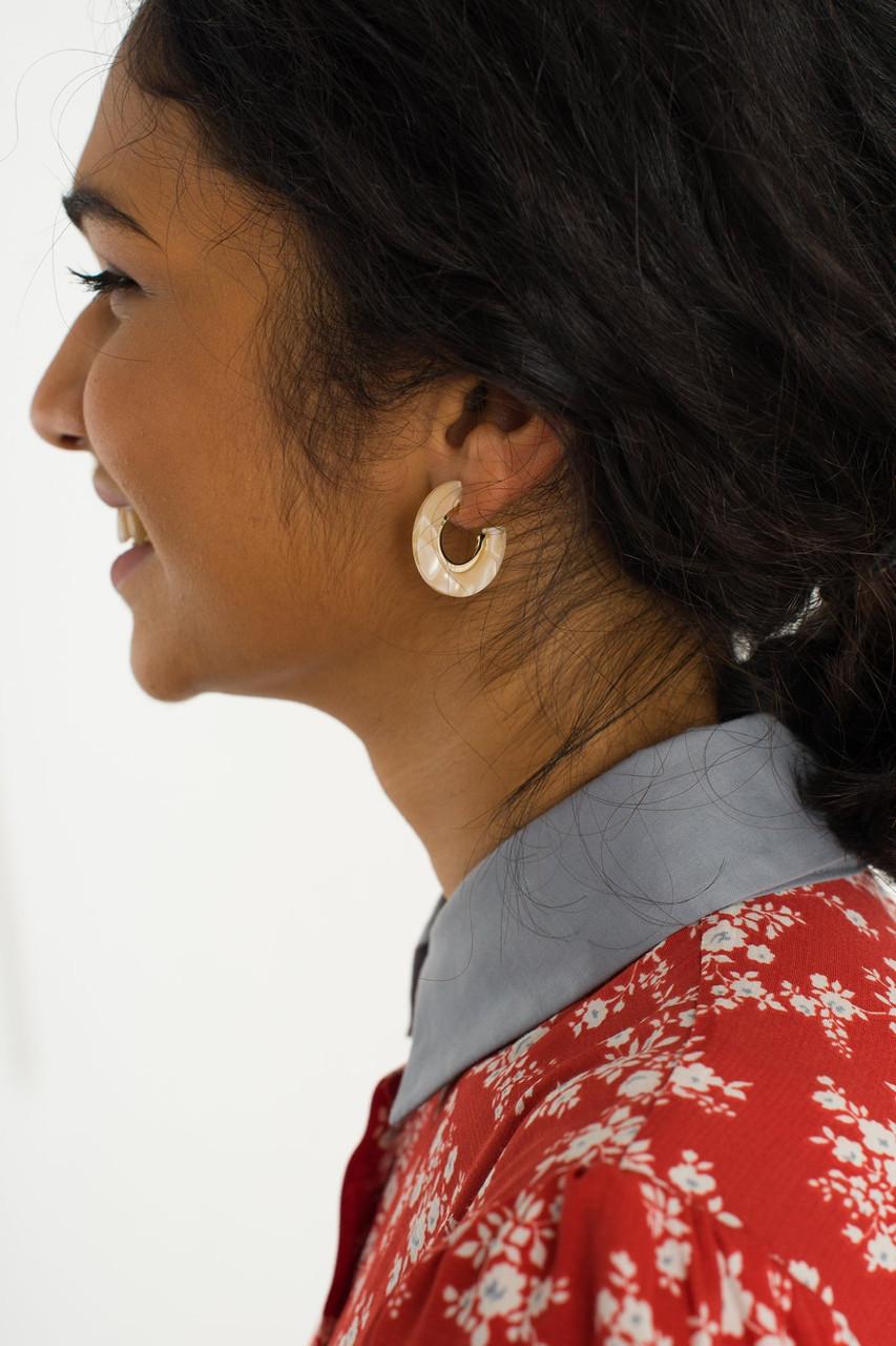 Cyrus Earrings, Ivory
