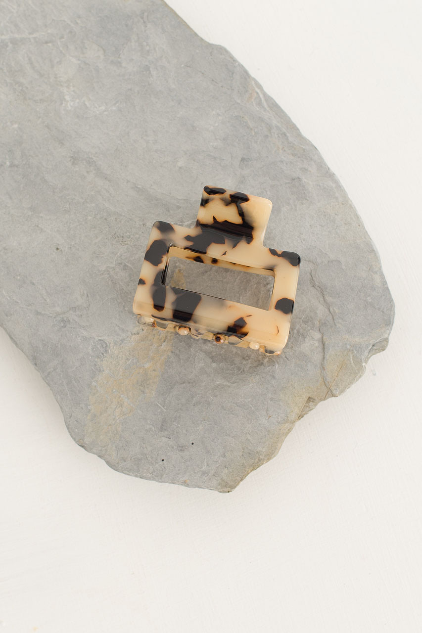 Square Hair Clip, Brown Tortoiseshell