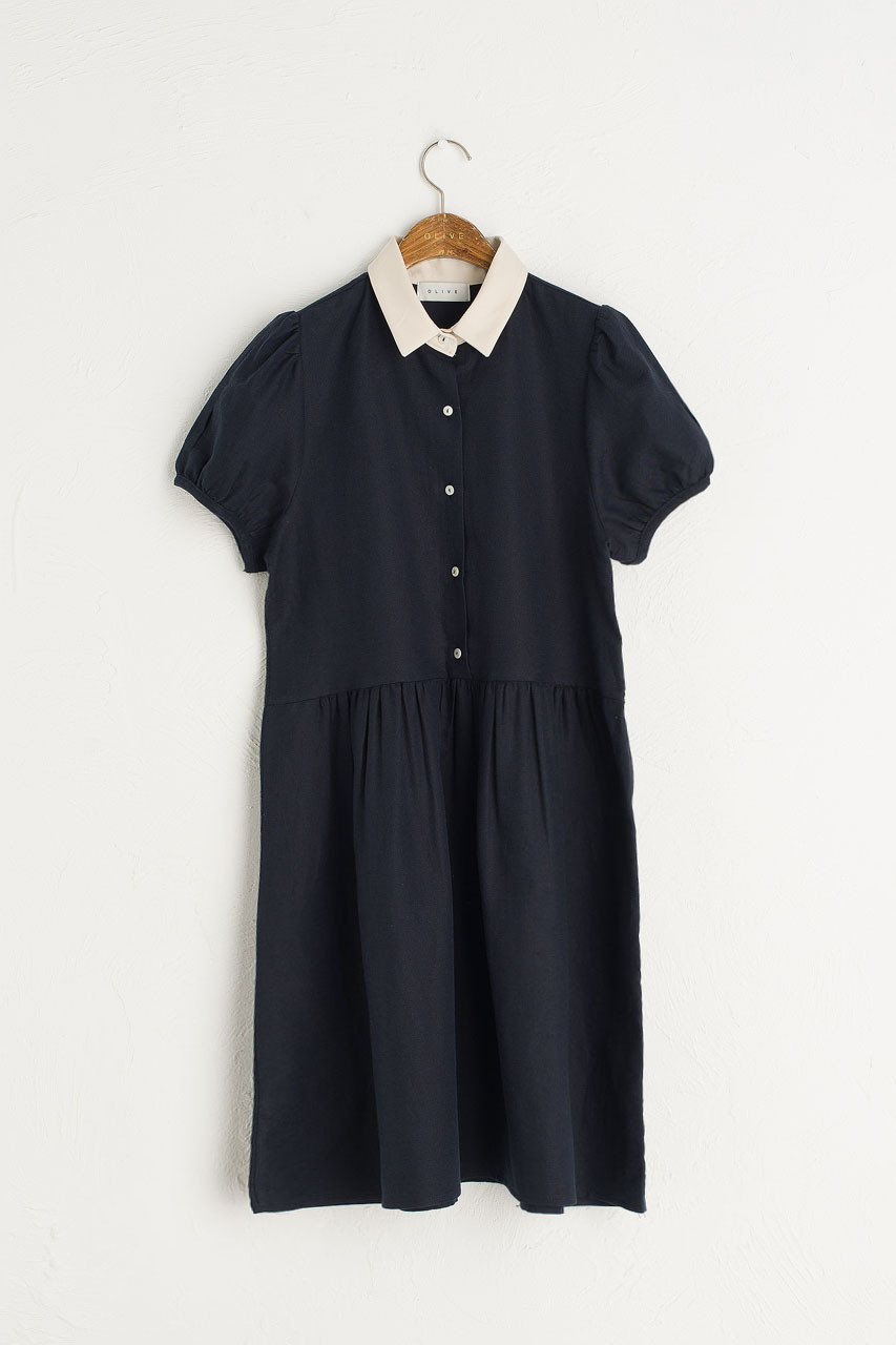 Alice Contrast Collar Dress, Navy