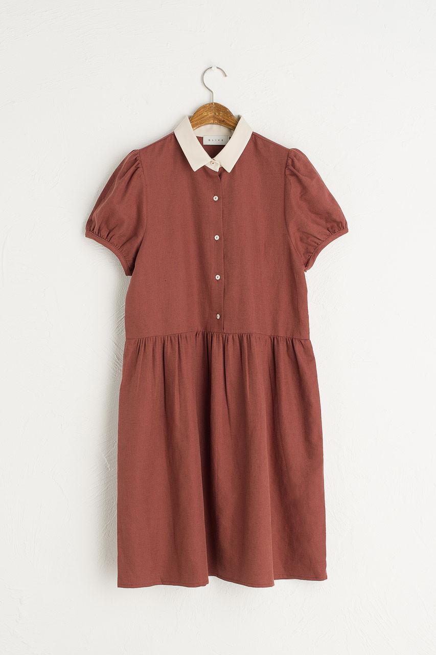 Alice Contrast Collar Dress, Wine