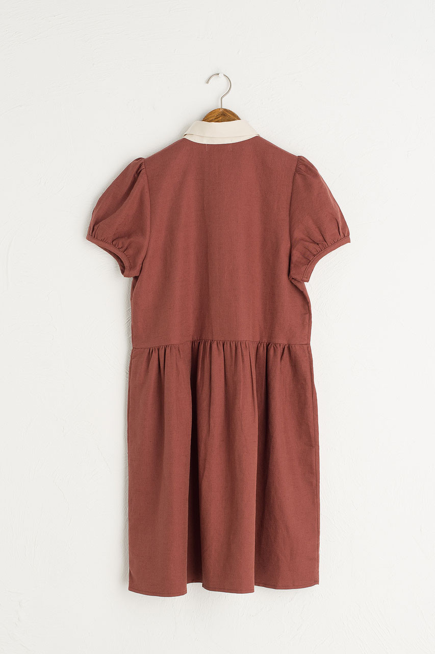 Alice Contrast Collar Dress, Wine