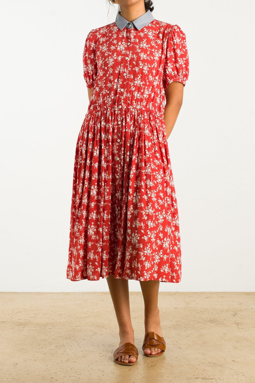 Floral Contrast Collar Dress, Red