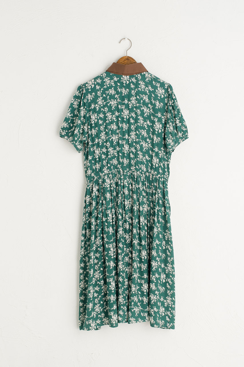 Floral Contrast Collar Dress, Green