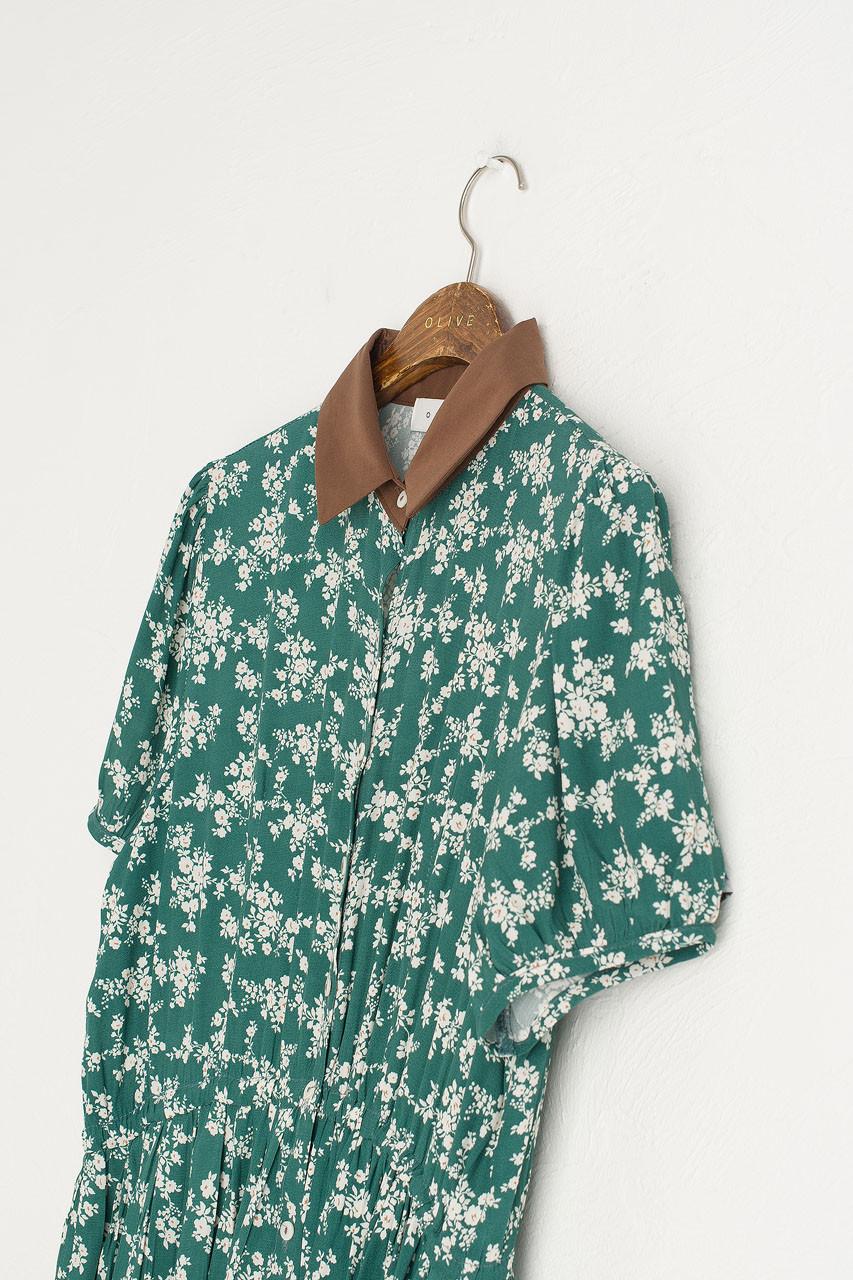 Floral Contrast Collar Dress, Green
