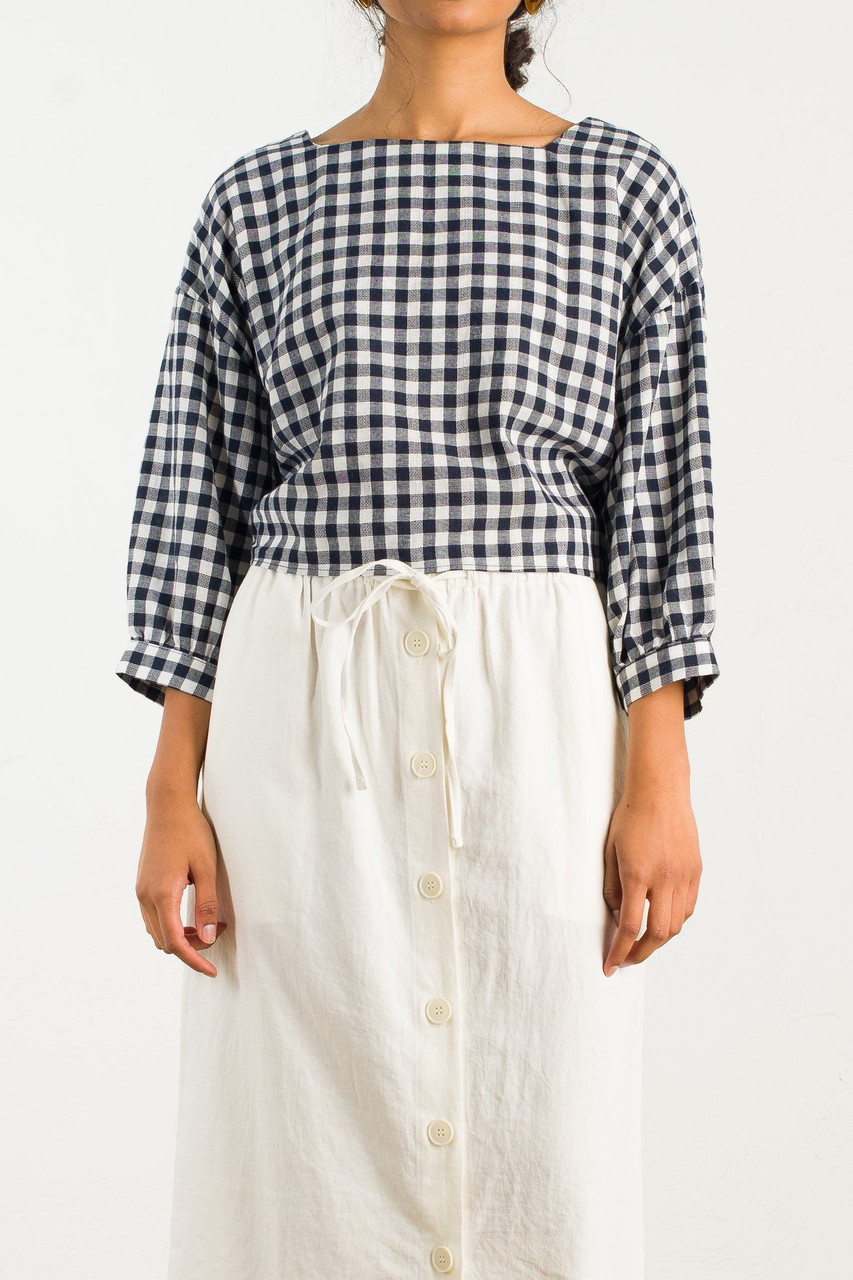 Tie Back Check Blouse, Beige