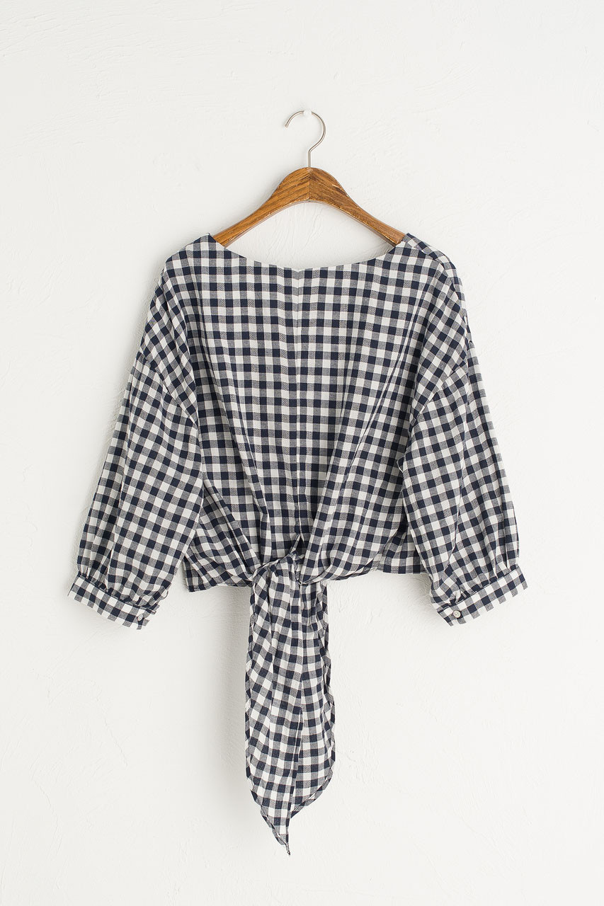 Tie Back Check Blouse, Navy