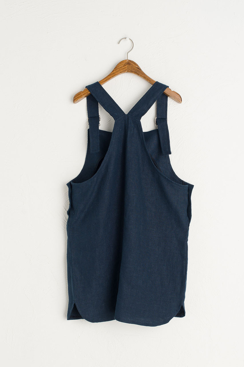 Simple Linen Dungaree Dress, Navy
