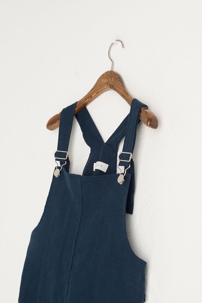 Simple Linen Dungaree Dress, Navy