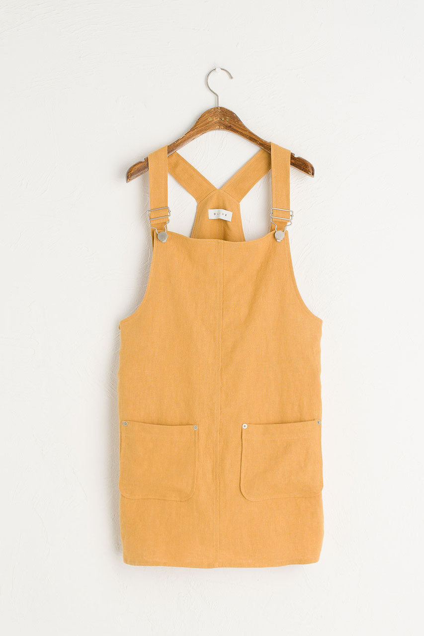 Simple Linen Dungaree Dress, Mustard