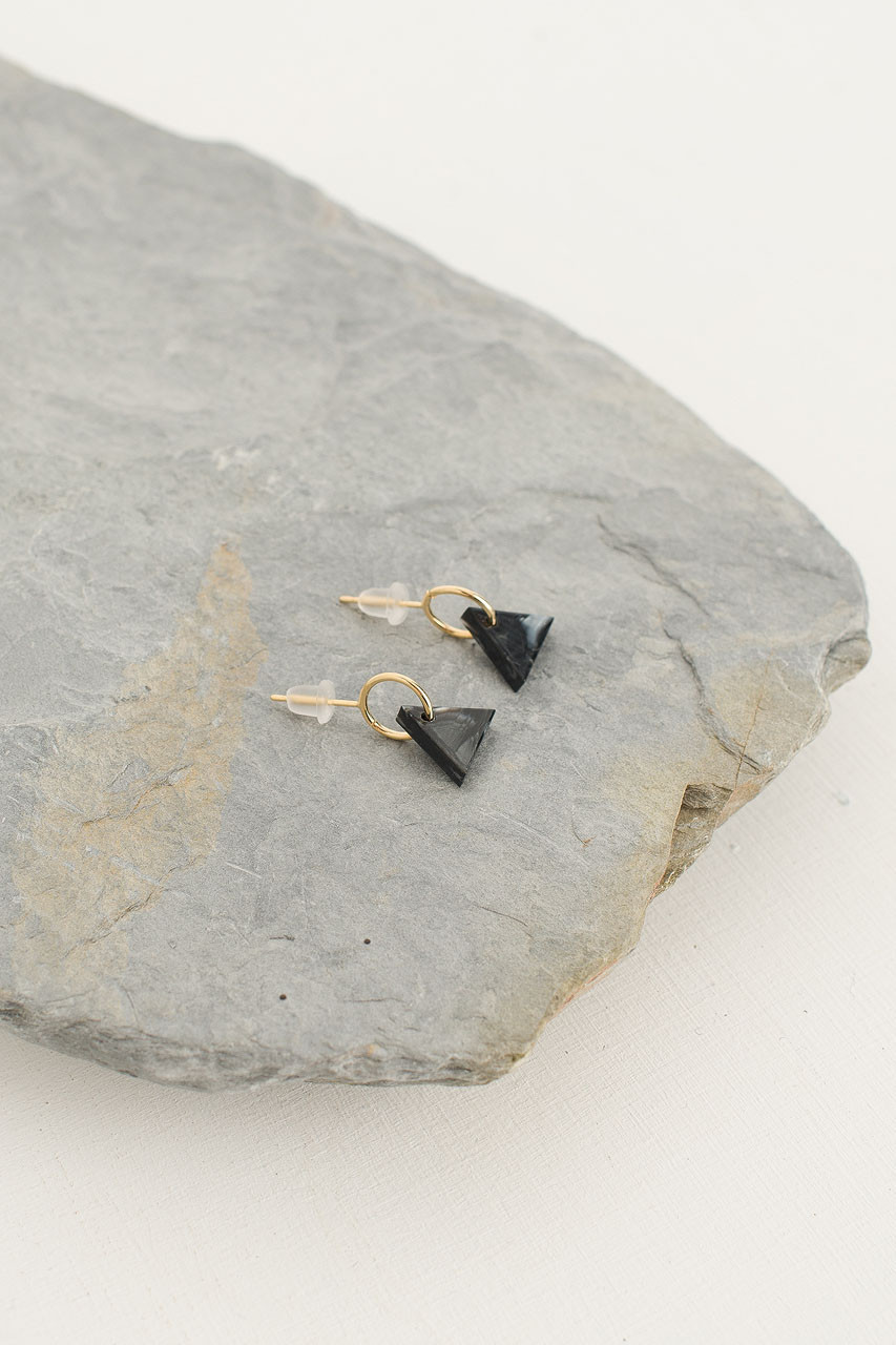 Lene Earrings, Gold Plated/Black