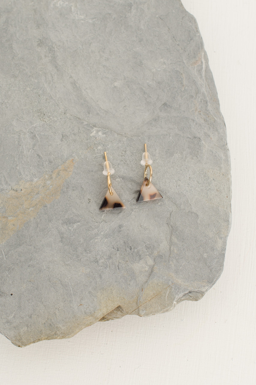 Lene Earrings, Gold Plated/Brown