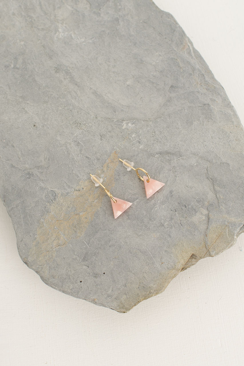 Lene Earrings, Gold Plated/Pink