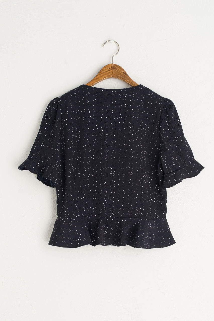 Dotty Print Bell Sleeve Blouse, Navy