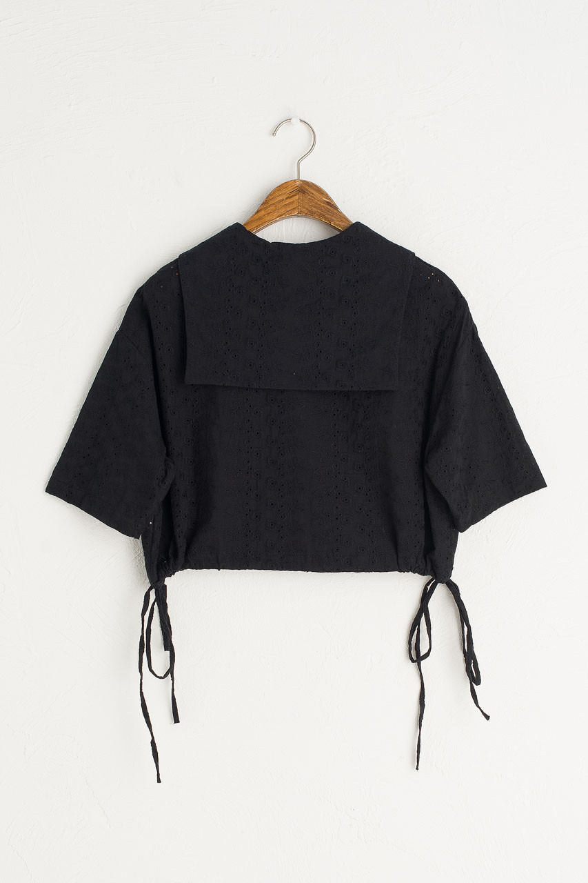 Sailor Collar Crop Blouse, Black