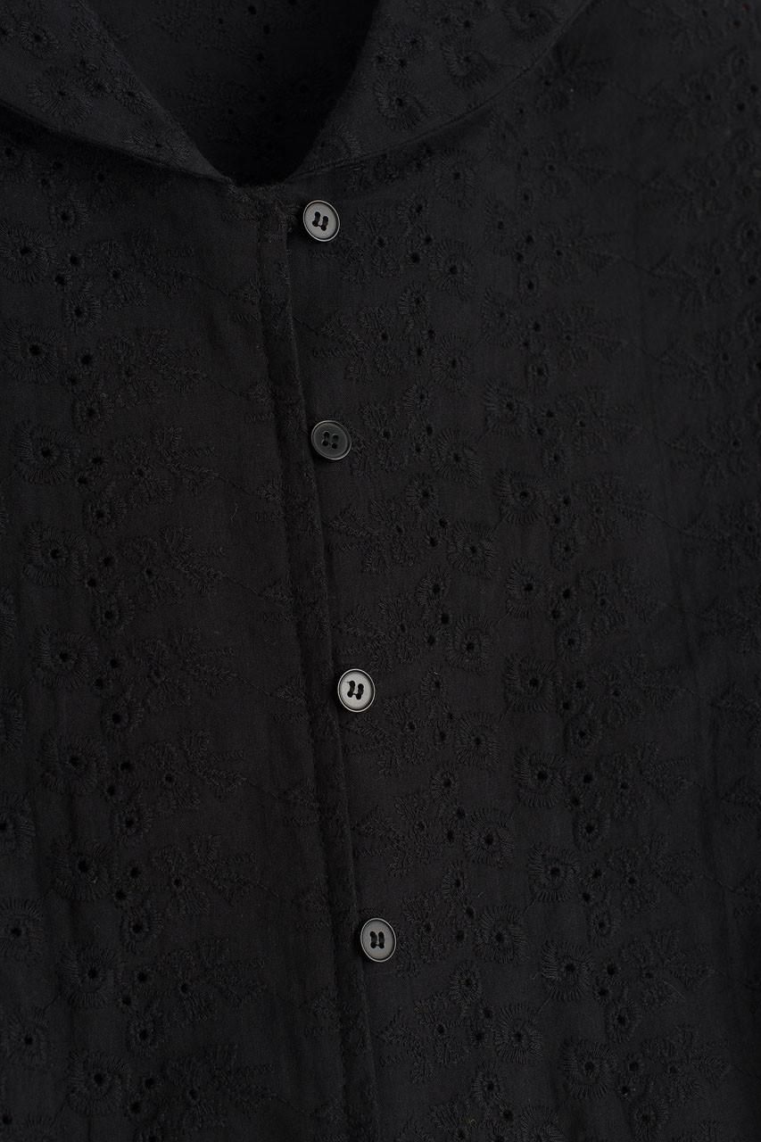 Sailor Collar Crop Blouse, Black