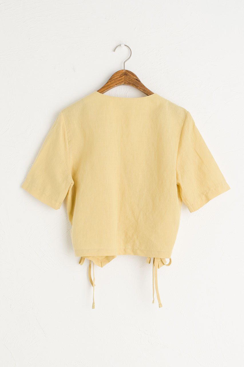 Ribbon Wrap Blouse, Mustard