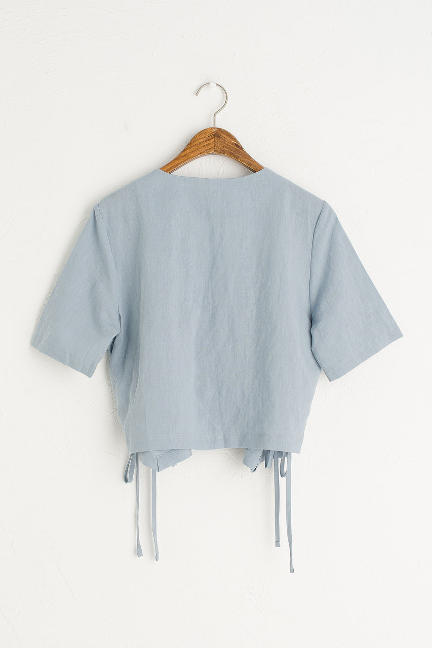 Ribbon Wrap Blouse, Blue
