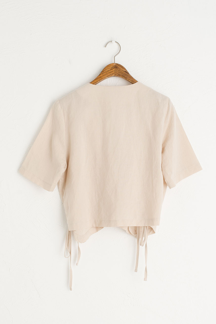 Ribbon Wrap Blouse, Beige