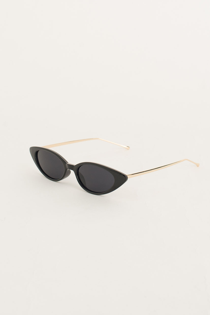Gold Arm Cat Eye Sunglasses, Black