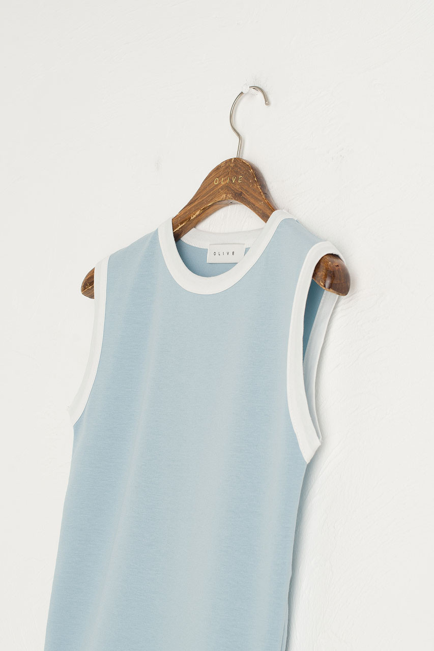Contrast Neck Tank, Mint