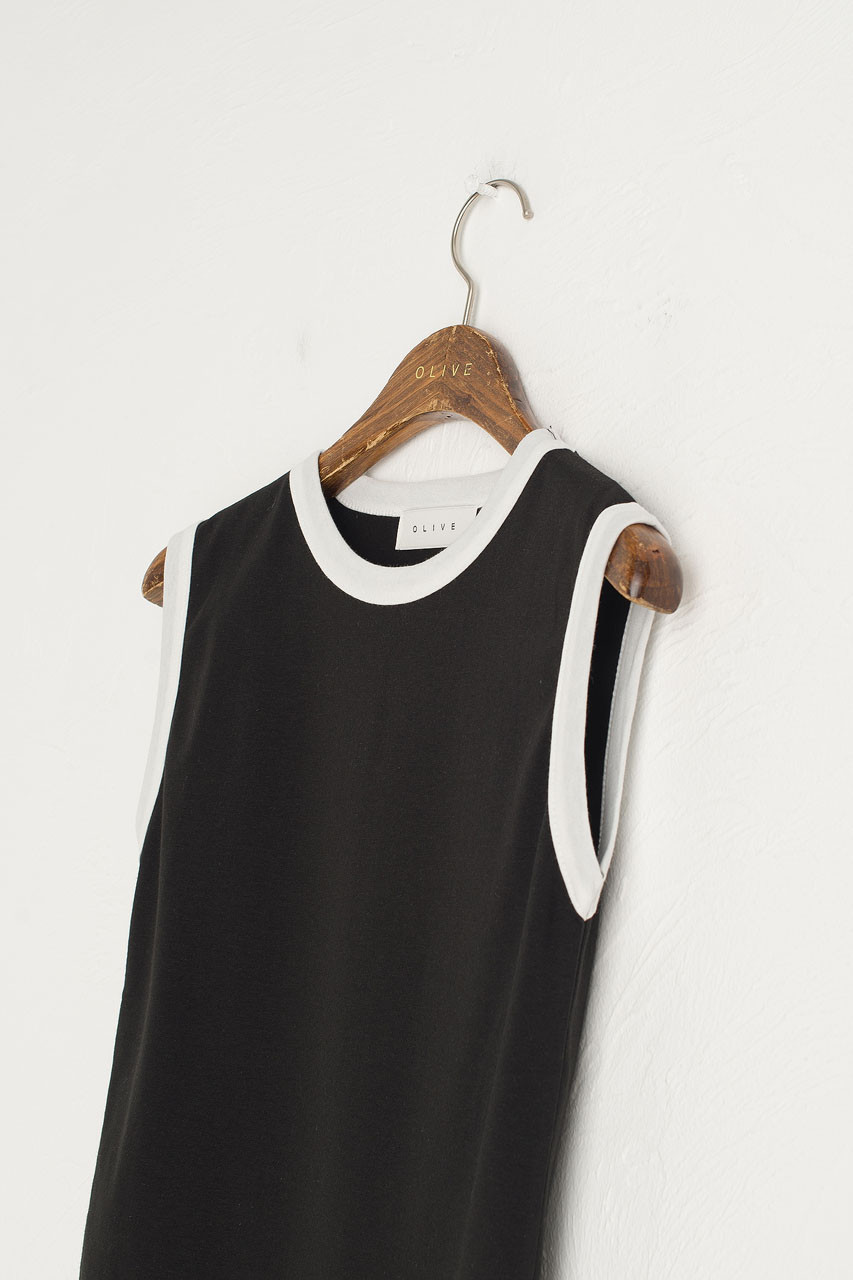 Contrast Neck Tank, Black