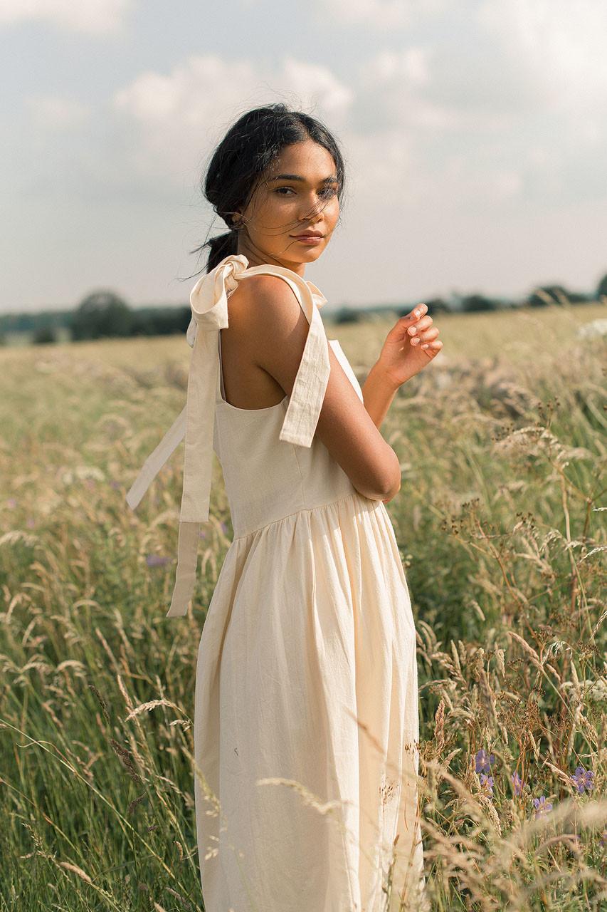Belle Ribbon Dress, Cream