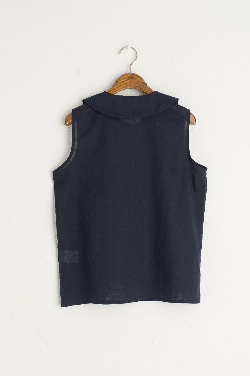 Amelie Sleeveless Blouse, Navy