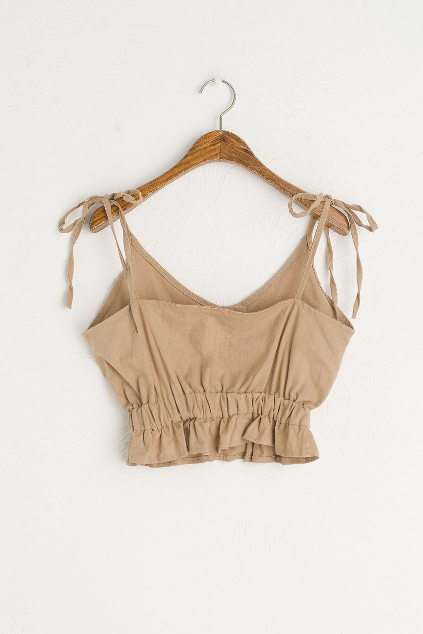 Tie Shouder Crop Top, Beige