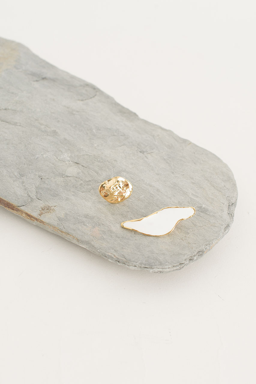 Paloma Earring, Gold Plated/White