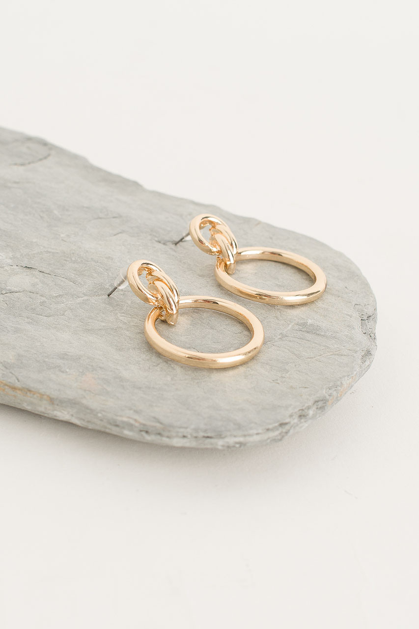 Double Circle Hoop Earring, Gold Plated