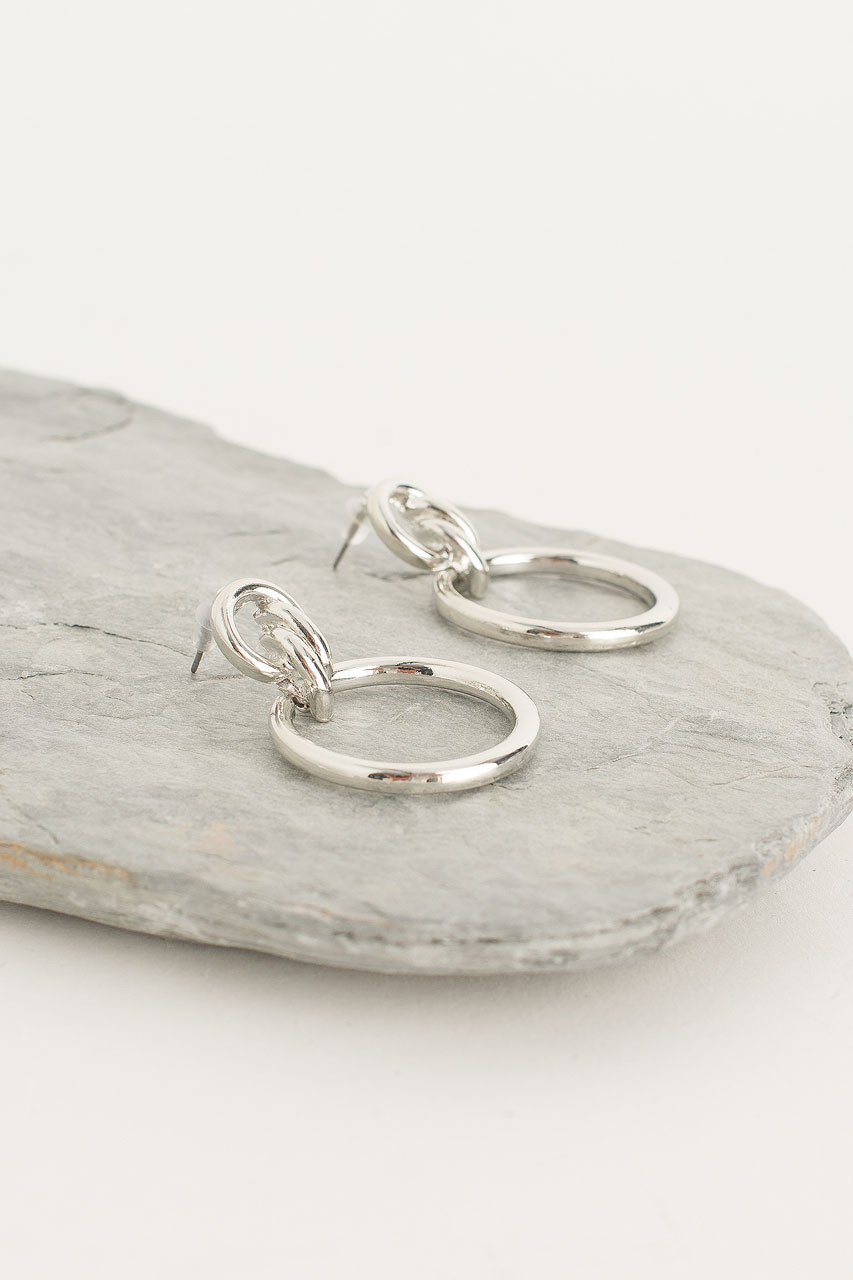 Double Circle Hoop Earring, Silver Plated