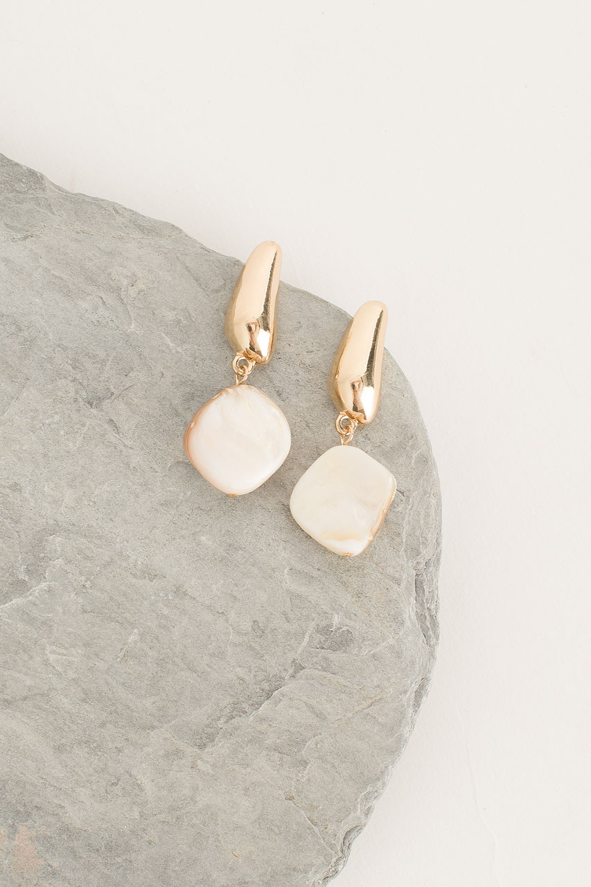 Natural Stone Drop Earring, Gold Plated