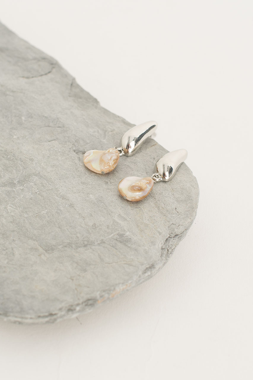 Natural Stone Drop Earring, Silver Plated