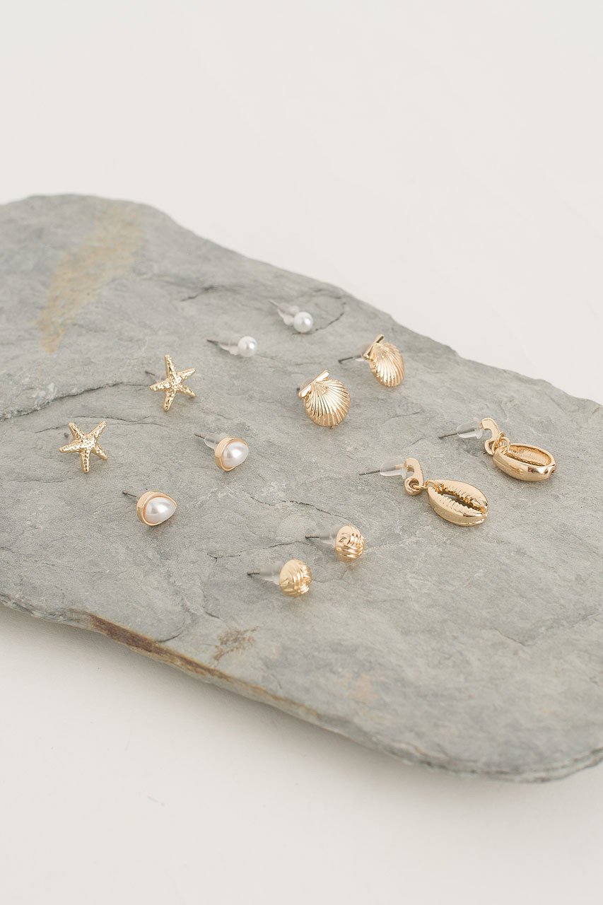 Seaside Earring Set, Gold Plated