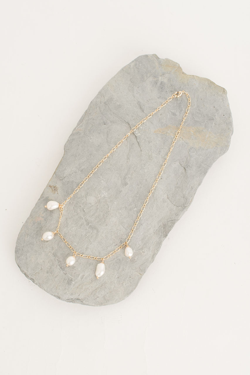 Pearl Drop Necklace, Gold Plated