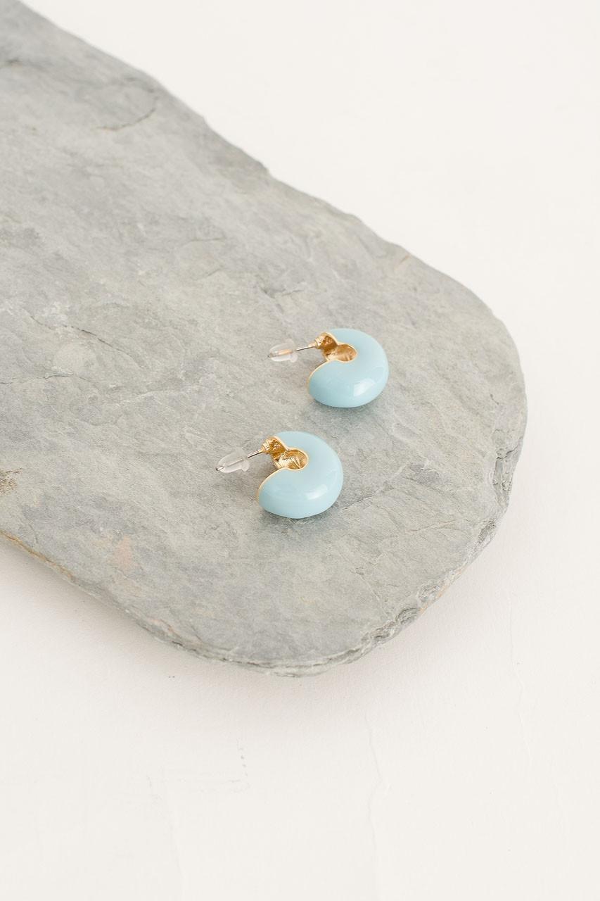Mini Colour Bean Hoop Earring, Gold Plated/Neon Blue