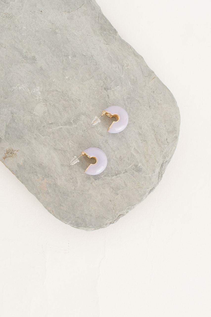 Mini Colour Bean Hoop Earring, Gold Plated/Neon Purple
