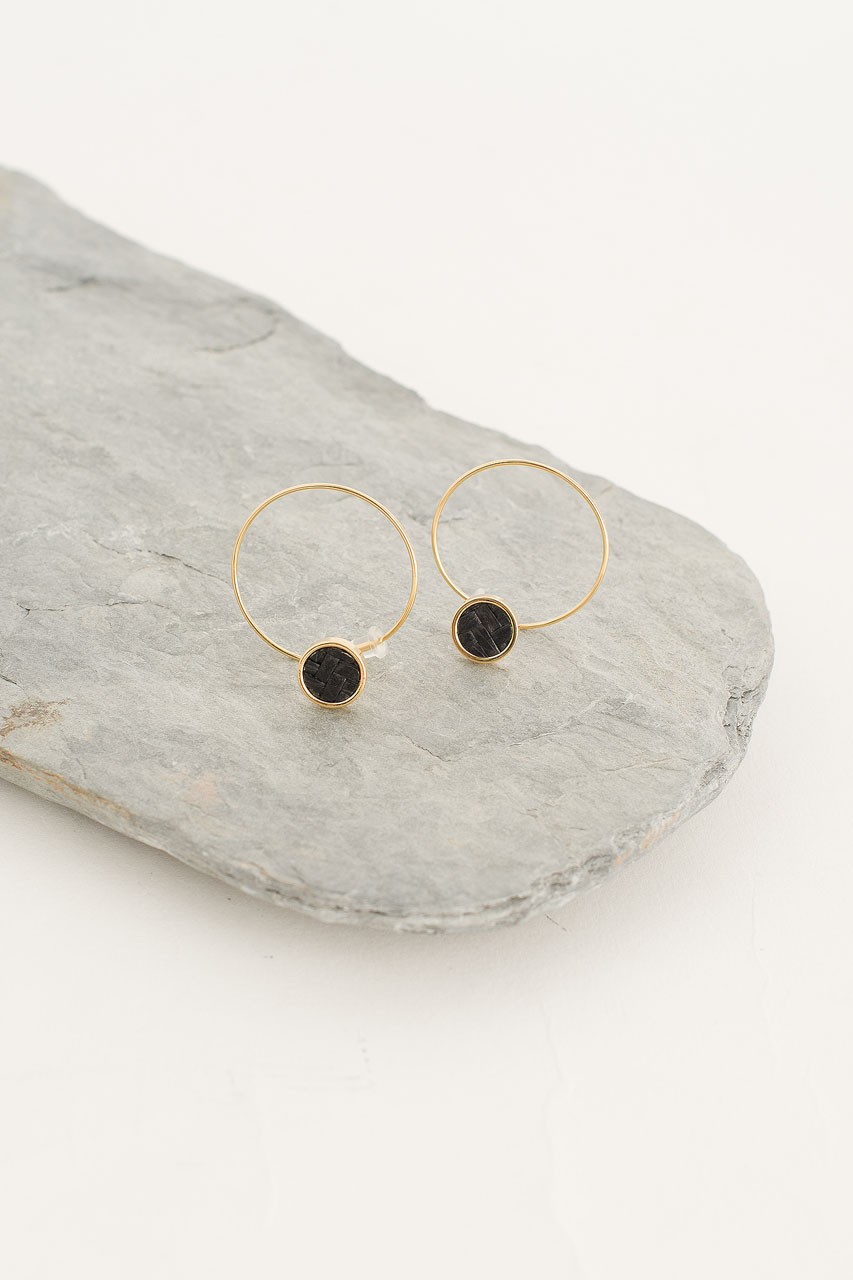 Woven Hoop Earring, Gold Plated/Black