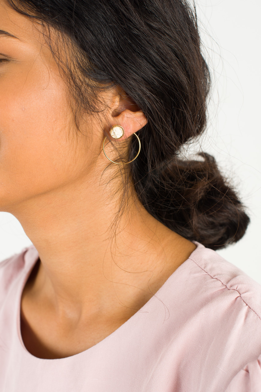 Woven Hoop Earring, Gold Plated/Ivory