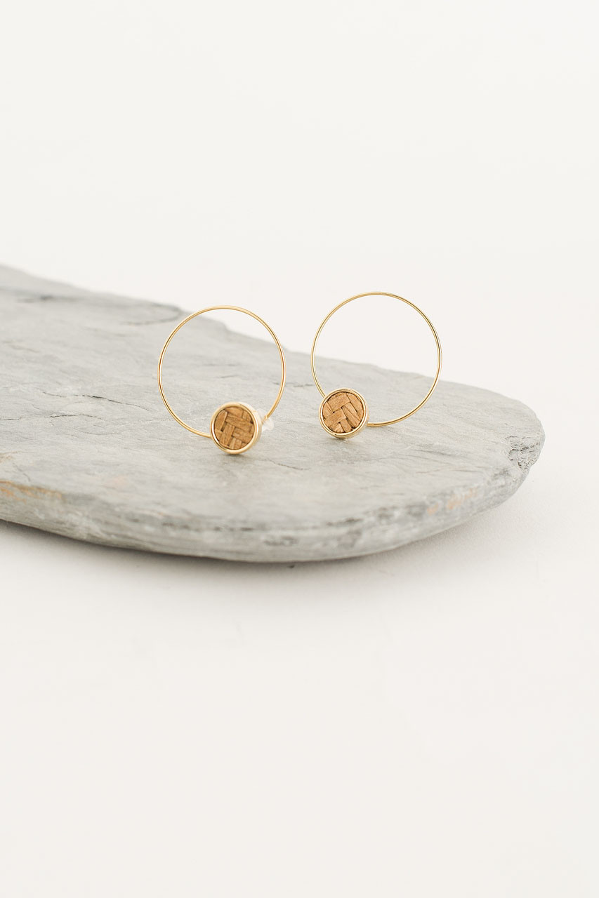 Woven Hoop Earring, Gold Plated/Beige
