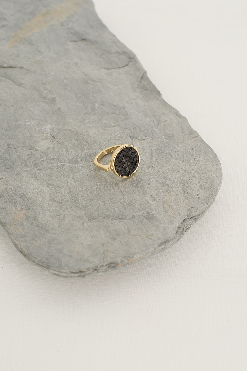Woven Circle Ring, Gold Plated/Black