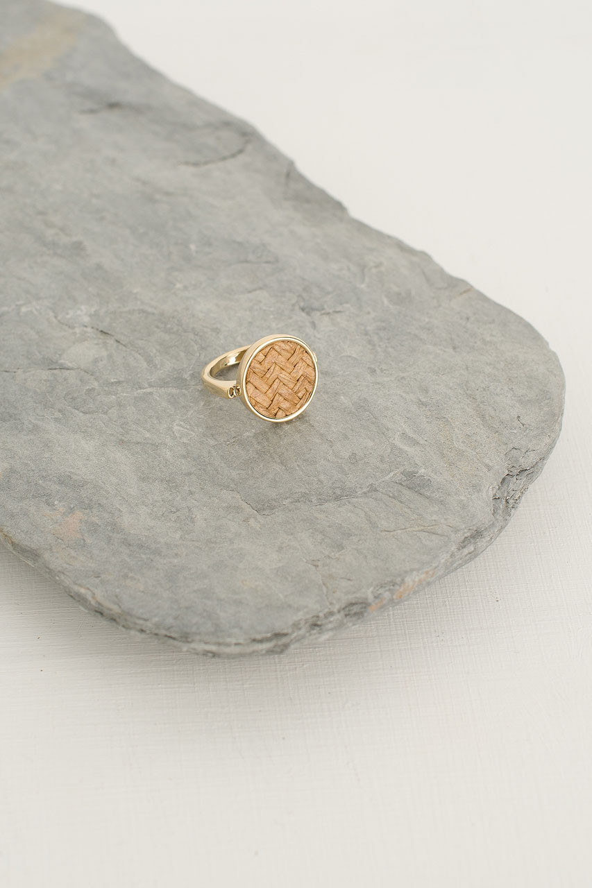 Woven Circle Ring, Gold Plated/Beige