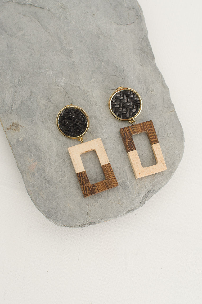 Woven Circle Square Drop Earring, Gold Plated/Black